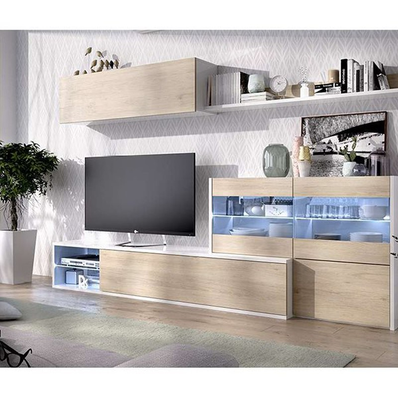 Salle Tv Avec Vitrine Et Led Blanc Naturel Brillant Uma Bricowork En Ligne De Materiel Coferdroza