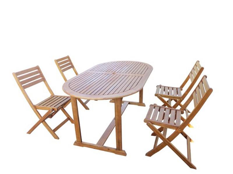 Set de mesa y sillas plegables de madera PG0486